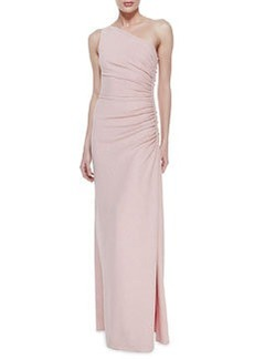 Laundry by Shelli Segal One-Shoulder Ruched Side Gown, Shimmering Blush