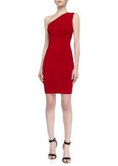 Laundry by Shelli Segal One-Shoulder Shimmer Sweaterdress, Parisian Red