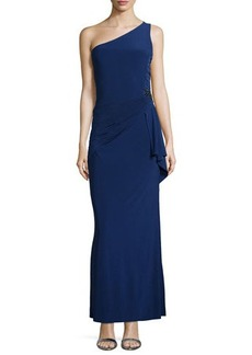 Laundry by Shelli Segal One-Shoulder Shirred Crepe Gown