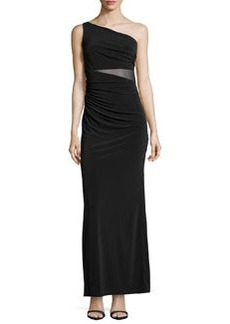 Laundry by Shelli Segal One-Shoulder Shirred Mesh-Inset Gown, Black