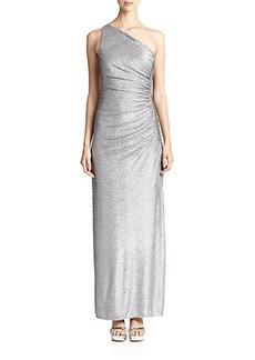Laundry by Shelli Segal One-Shoulder Whirlpool Foil Gown