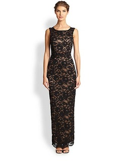 Laundry by Shelli Segal Open-Back Lace Gown