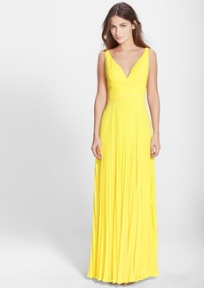Laundry by Shelli Segal Open Back Pleated Chiffon Gown