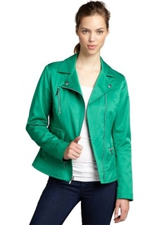 Laundry by Shelli Segal patty green cotton-blend woven asymmetrical zip jacket