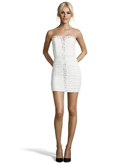 Laundry by Shelli Segal pearl shirred jersey beaded strapless dress