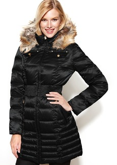 Laundry by Shelli Segal Petite Hooded Faux-Fur-Trim Down Puffer Coat