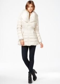Laundry by Shelli Segal Pillow-Collar Smocked Down Puffer Coat