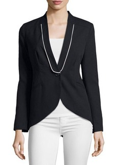 Laundry by Shelli Segal Piped High-Low One-Button Jacket