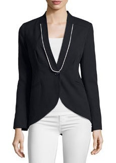 Laundry by Shelli Segal Piped High-Low One-Button Jacket, Dark Moonlight
