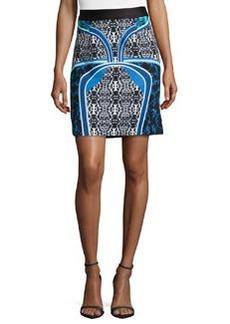 Laundry by Shelli Segal Placid Mixed-Print Scuba Jersey Skirt, Black/Multi