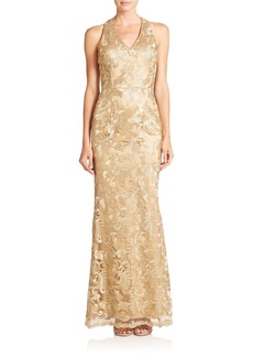 Laundry by Shelli Segal PLATINUM Amulet Embroidered Mesh Floor-Length Gown