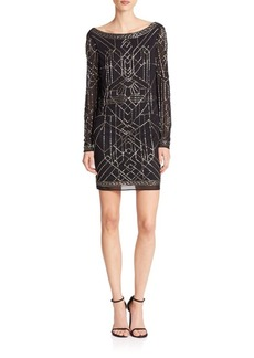 Laundry by Shelli Segal PLATINUM Athena Beaded Mesh Cocktail Dress