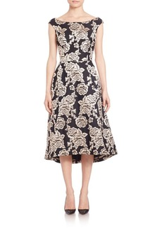 Laundry by Shelli Segal PLATINUM Flared Brocade Dress