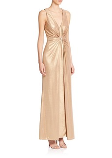 Laundry by Shelli Segal PLATINUM Foxtrot Foiled Knit Gown