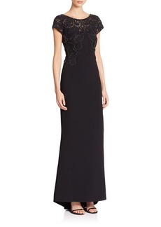 Laundry by Shelli Segal PLATINUM Halloway Embroidered Gown