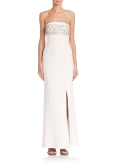 Laundry by Shelli Segal PLATINUM Halloway Strapless Drape-Back Gown