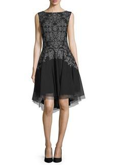 Laundry by Shelli Segal Platinum Sleeveless Embellished Cocktail Dress
