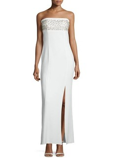 Laundry by Shelli Segal Platinum Strapless Embellished Column Gown