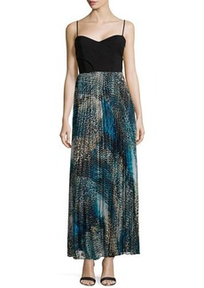 Laundry by Shelli Segal Pleated Animal Print Maxi Dress, Blue Multi