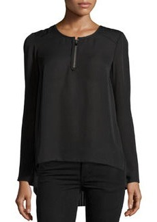 Laundry by Shelli Segal Pleated-Back Zip Blouse, Black