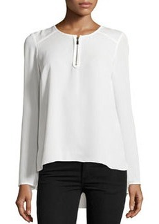 Laundry by Shelli Segal Pleated-Back Zip Blouse, Pearl
