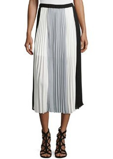 Laundry by Shelli Segal Pleated Colorblock Maxi Skirt, Black/Ivory/Grey