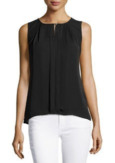 Laundry by Shelli Segal Pleated Sleeveless Blouse, Black