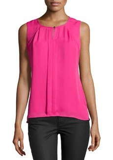 Laundry by Shelli Segal Pleated Sleeveless Blouse, Hotty