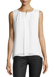 Laundry by Shelli Segal Pleated Sleeveless Blouse, Pearl