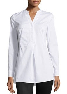 Laundry by Shelli Segal Pleated Split-Neck Tunic, Optic White