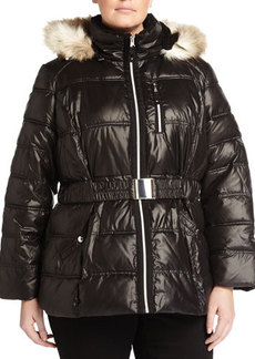 Laundry by Shelli Segal Plus Belted Zip-Front Puffer Jacket