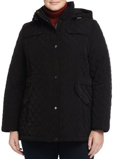 Laundry by Shelli Segal Plus Quilted Contrast-Shoulder Hooded Coat