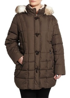 Laundry by Shelli Segal Plus Quilted Puffer Jacket w/ Removable Faux-Fur Hood