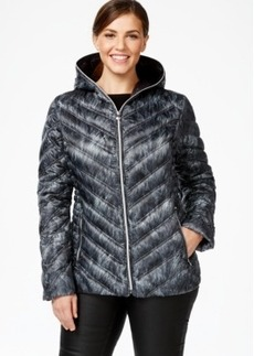 Laundry by Shelli Segal Plus Size Printed Packable Puffer Coat