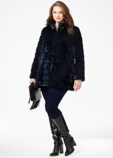 Laundry by Shelli Segal Plus Size Ribbed Faux-Fur Coat
