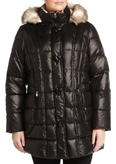 Laundry by Shelli Segal Plus Zip-Front Hooded Puffer Jacket