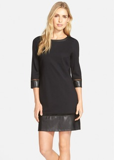 Laundry by Shelli Segal Ponte & Faux Leather Dress