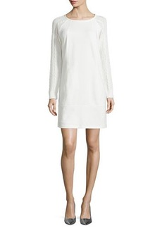 Laundry by Shelli Segal Ponte Dress with Cable-Knit Sleeves