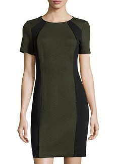 Laundry by Shelli Segal Ponte-Panel Jacquard Short-Sleeve Dress