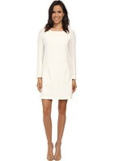 Laundry by Shelli Segal Ponte Sheath w/ Cable Knit Sleeves
