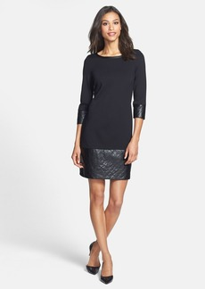 Laundry by Shelli Segal Ponte Shift Dress with Faux Leather Trim (Petite)