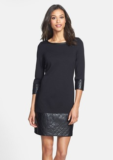 Laundry by Shelli Segal Ponte Shift Dress with Faux Leather Trim