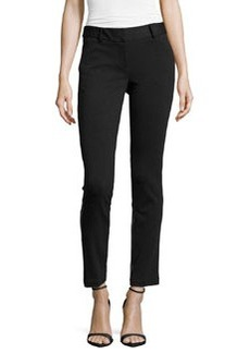 Laundry by Shelli Segal Ponte/Faux-Leather Skinny Pants, Black