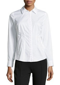 Laundry by Shelli Segal Poplin Hook-and-Eye Blouse, Optic White