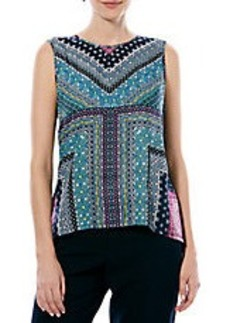 LAUNDRY BY SHELLI SEGAL Print and Knit Hi-Lo Top