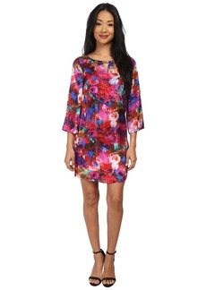 Laundry by Shelli Segal Print Boat Neck Dress w/ Keyhole