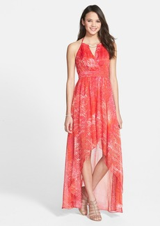Laundry by Shelli Segal Print Chiffon Halter Gown
