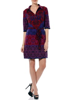 Laundry by Shelli Segal Print Collared Jersey Shirtdress
