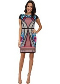 Laundry by Shelli Segal Print Scuba Dress with Sold Blocking
