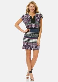 Laundry by Shelli Segal Print Split Neck Matte Jersey Dress